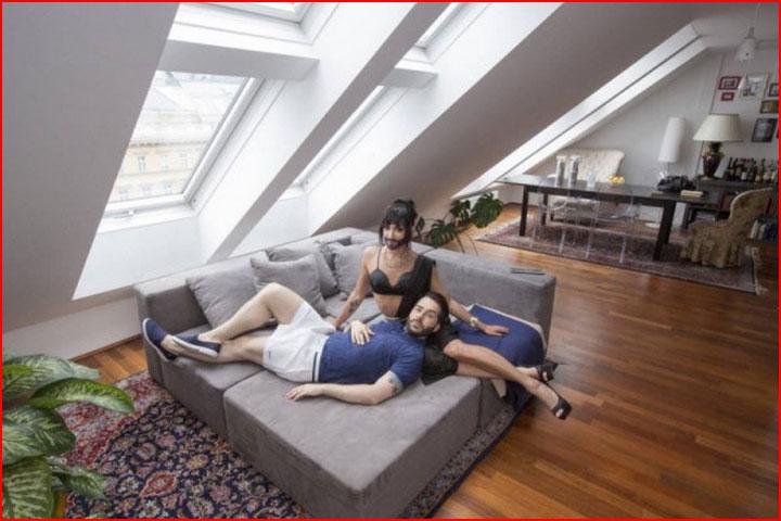 Домашняя фотосессия Кончиты Вурст и её мужа