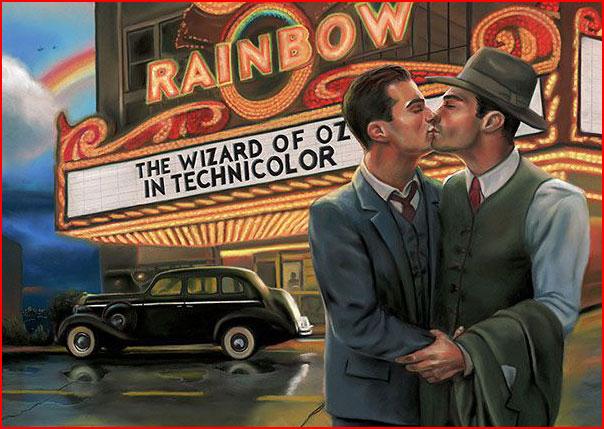 Двое влюблённых на холсте Michaelа Breyette  (гей блюсик 8397)